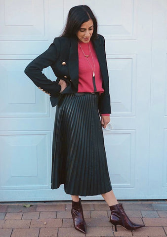 Faux leather pleated skirt River Island