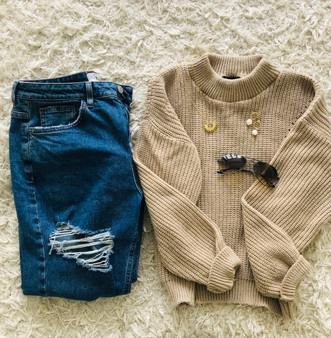 Warm Tone fashion styling and accessories flatlay