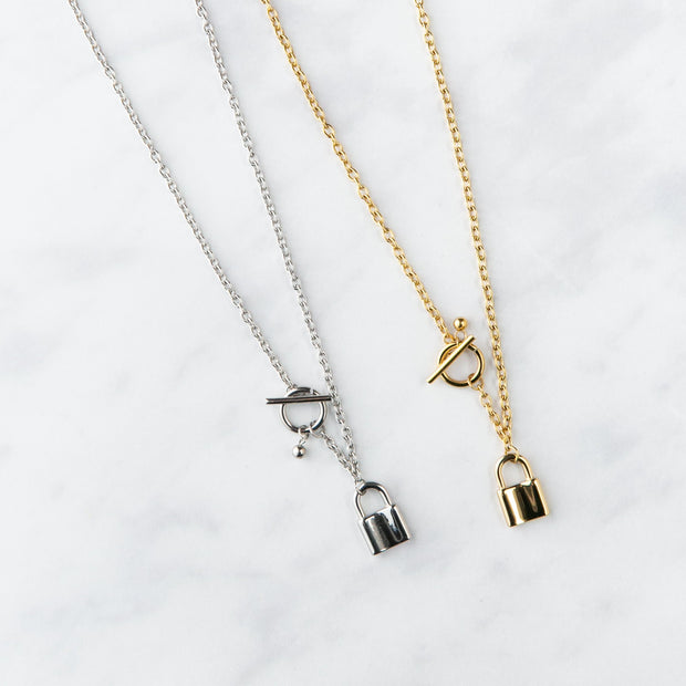 T-Bar Padlock Chain Necklace