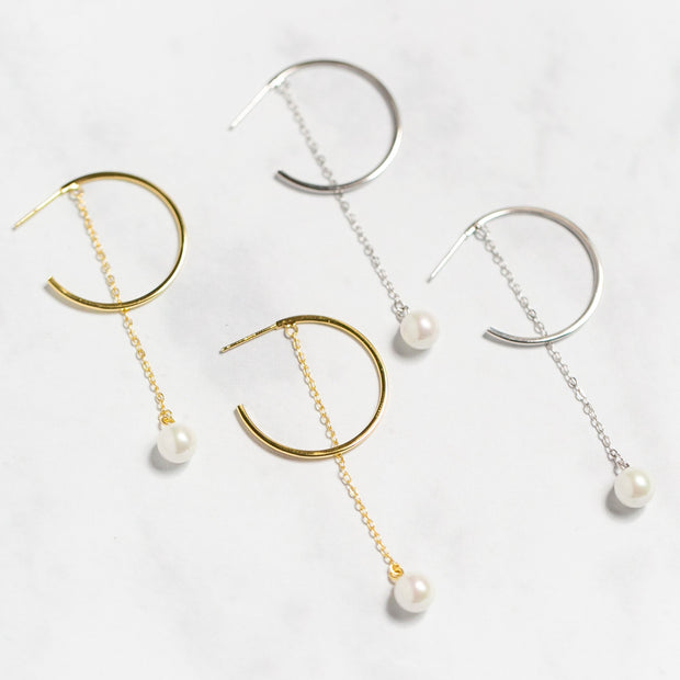Leona Dangly Pearl Hoop Earrings