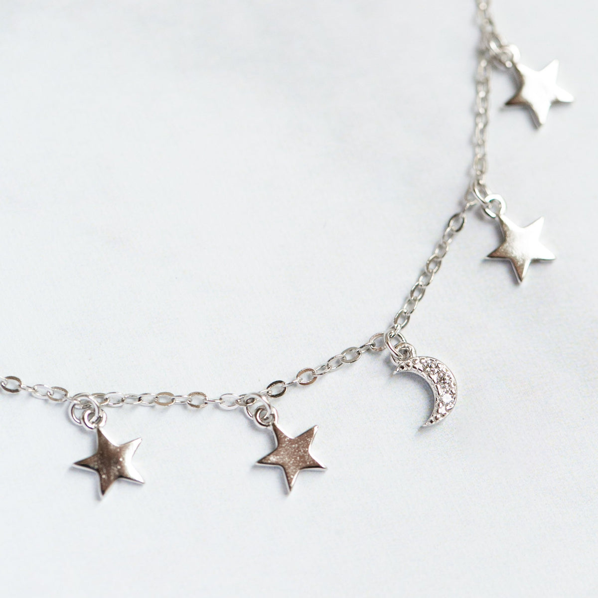 delicate silver star necklace