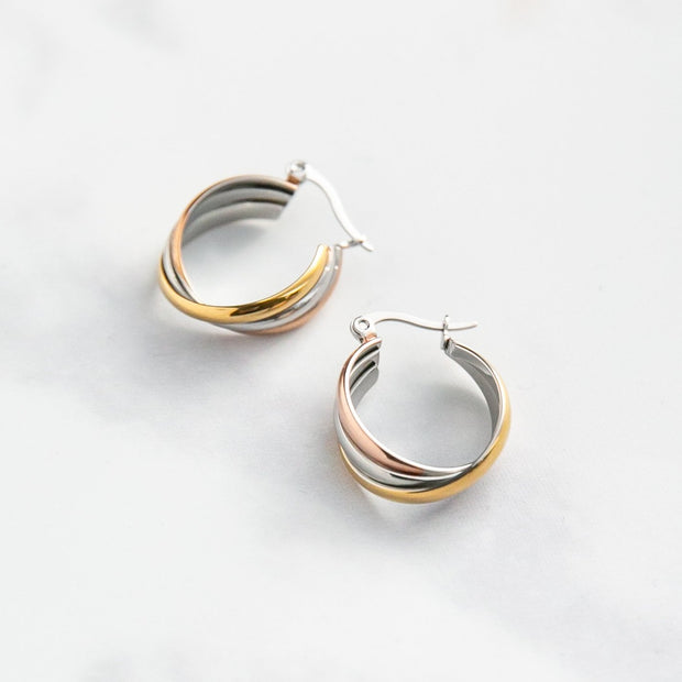 Three Colour Twist Hoop Earrings