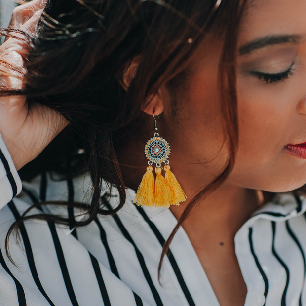 yellow tassel earrings