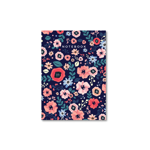 Midnight Blue Floral A4 Notebook