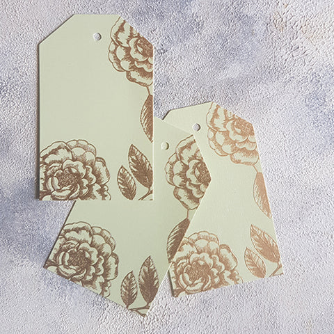 Mint Foral Gift Tags