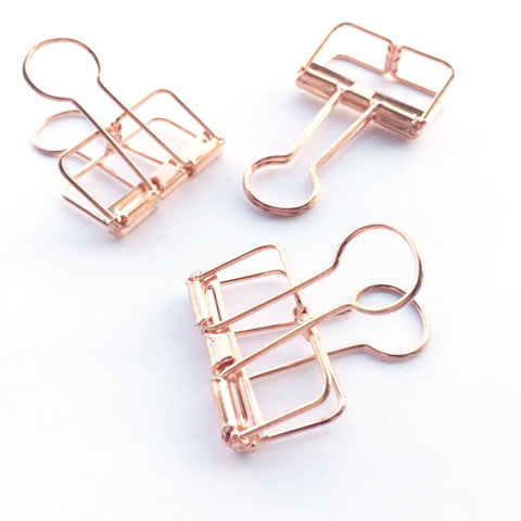 Rose Gold Hollow Metal Paper Binder Clips Small