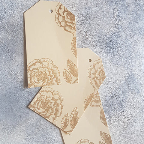 Beige Foral Gift Tags
