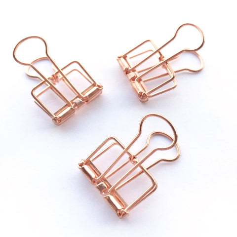 Rose Gold Hollow Metal Paper Binder Clips Large