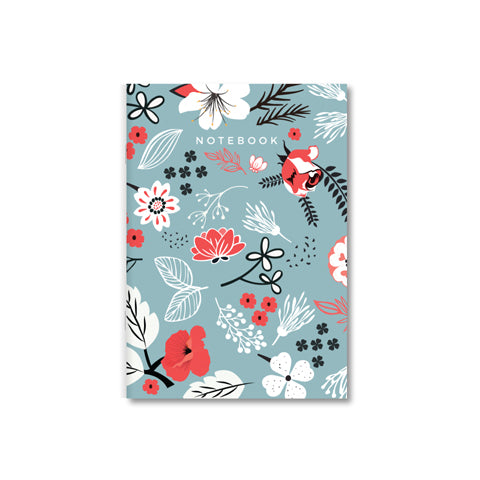 Serene Blue Floral A4 Notebook