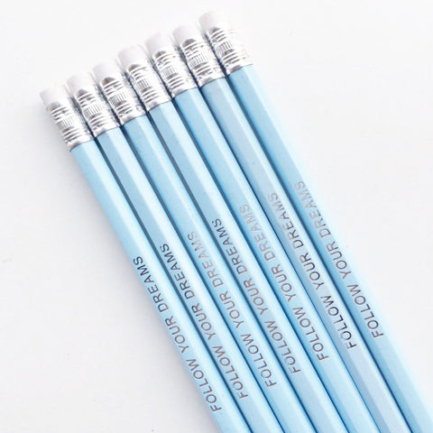 Follow your Dreams Pencil Set | Set of 4 | Ice Blue