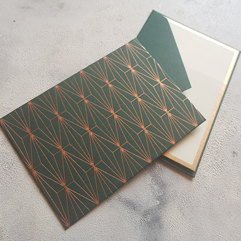 Green Geometric Notecards