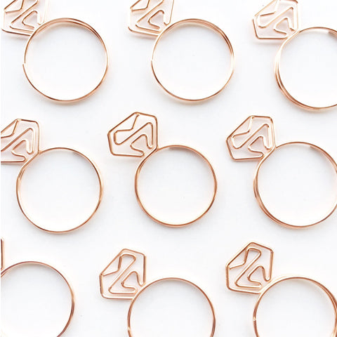 Diamond Ring Paper Clips Rose Gold