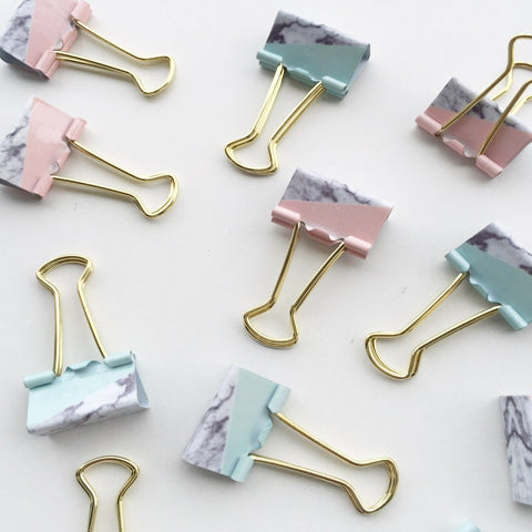 Binder Clips-Marble Paper Binder Clips | Salmon Pink and Mint Blue | 25 mm | Set of 4