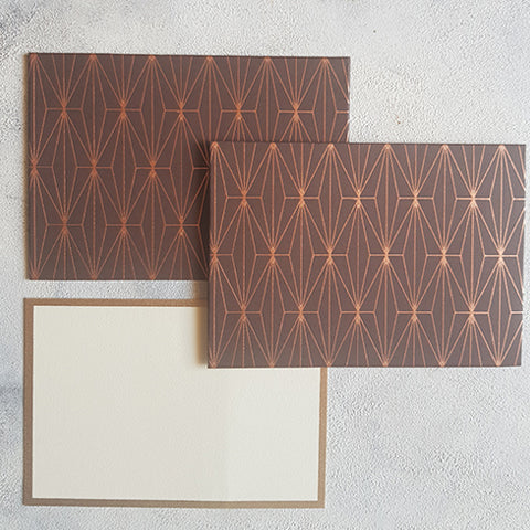 Brown Geometric  Notecards