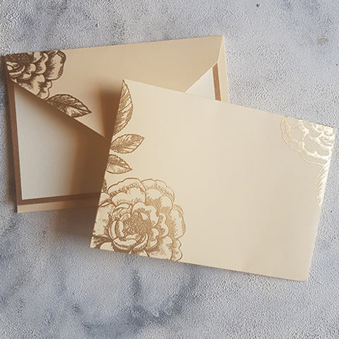 Beige Foral Notecards & Envelope