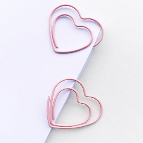Lovely Pink Heart Paper Clips | Set of 4