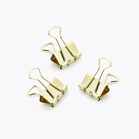 Gold Solid Paper Binder Clips Small