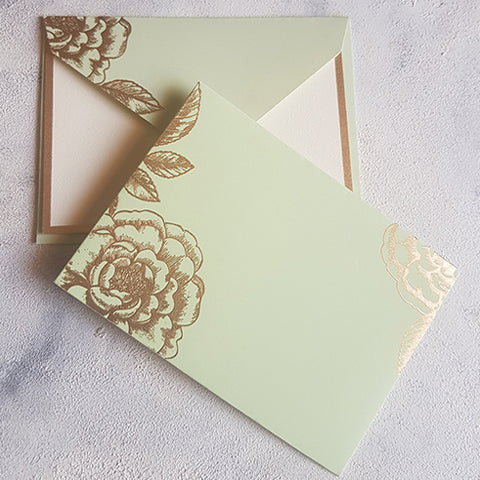 Mint Foral Notecards