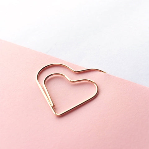 Heart Paper Clips Rose Gold