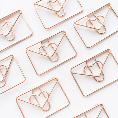 Love Letter Paper Clips Rose Gold