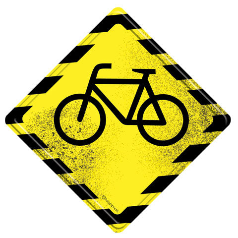 Cyclist Inside Metal Door Sign