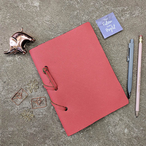 Coral Leather Diary