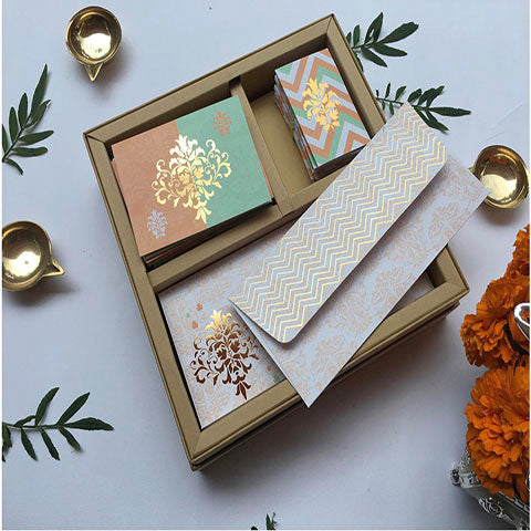 Festive Stationery Gift Box Set- Peach & Mint