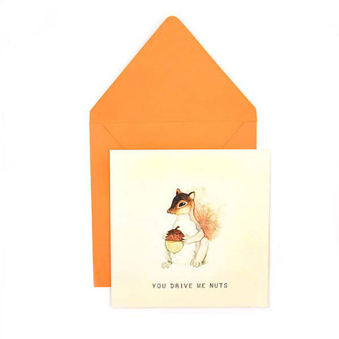 Acorns & other kind of nuts -  Handmade Anniversary greeting cards online India - The Papier Project