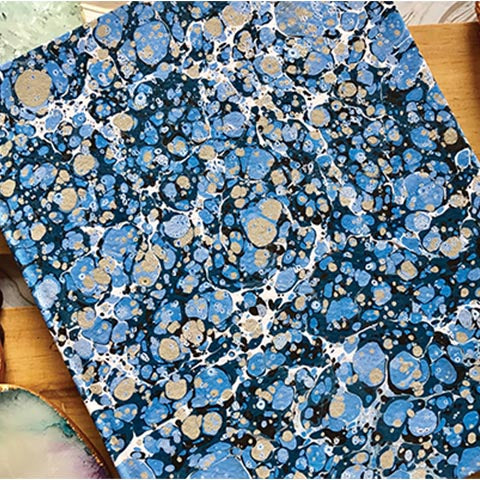 Blue and Black Hand Marbled Diary