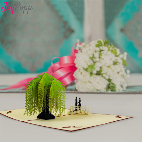 Couple On The Bridge Under Green Tree Pop Greeting Card