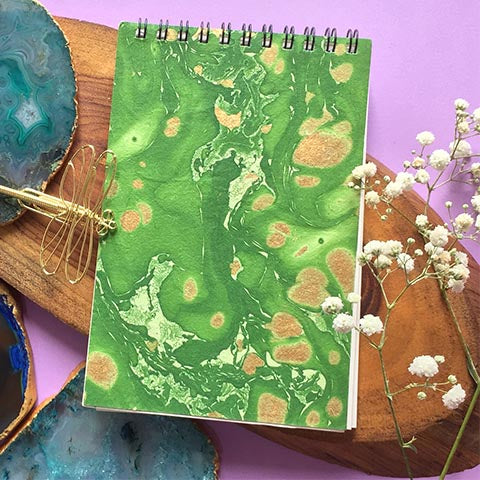 Green Hand Marbled Notepad