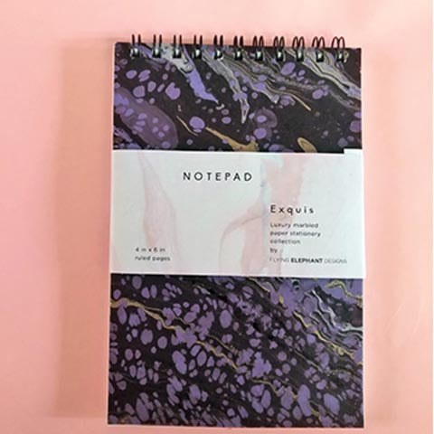 Purple & Black Textured Hand Marbled Notepad