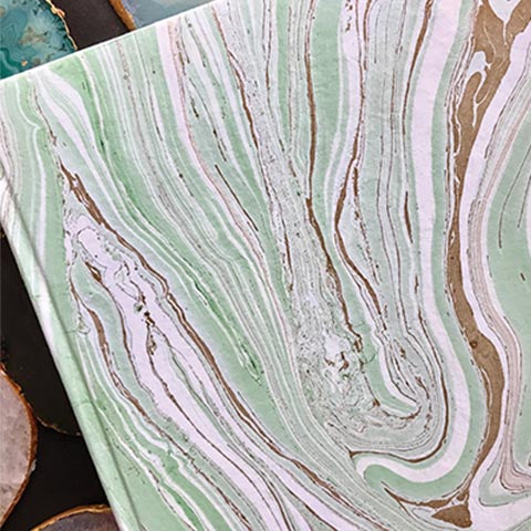 Nature Hand Marbled Diary