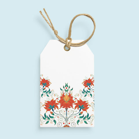 Orange floral gift tags