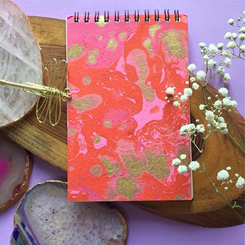 Orange Hand Marbled Notepad
