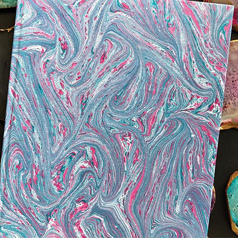 Pink & Blue Hand Marbled Diary