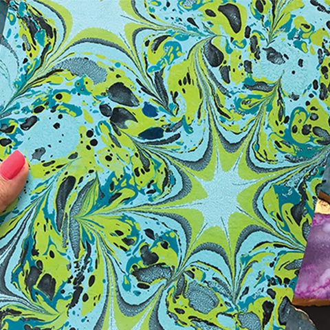 Psychedelic Green Hand Marbled Diary