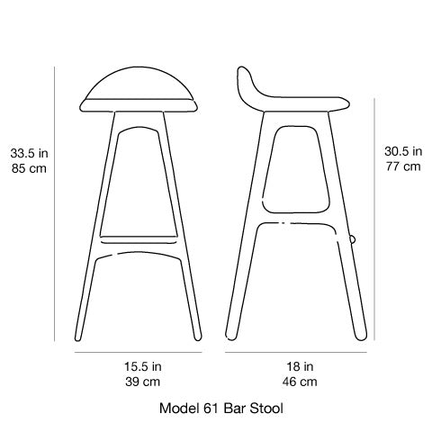 Erik Buch Model 61 Bar Stool Dimensions