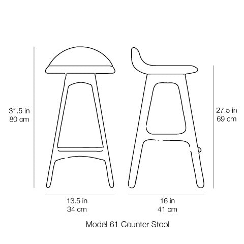Erik Buch Model 61 Counter Stool Dimensions