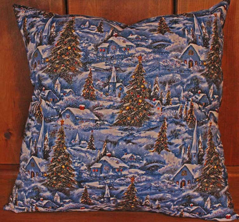 Country Christmas Town Cotton Throw Pillow Cover