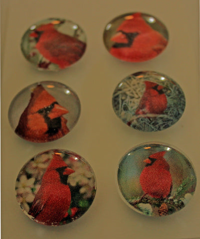 Pretty Cardinals Glass Gem Super Strong Magnets