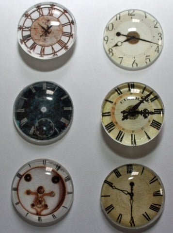 Tick Tock Clocks Super Strong Glass Gem Magnets