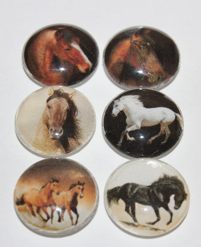 Running Horses Glass Gem Magnets