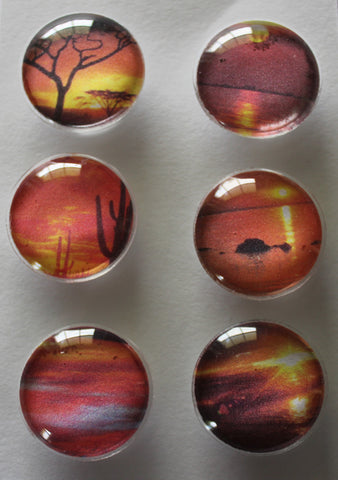 Sunset Glass Gem Super Strong Magnets