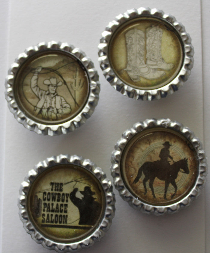 Cowboy Flat Bottle Cap Super Strong Magnets