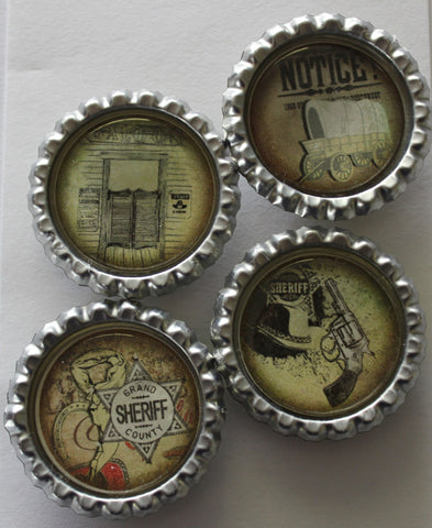 Cowboy Saloon Flat Bottle Cap Super Strong Magnets