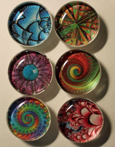 Bright Fractals Glass Gem Super Strong Magnets