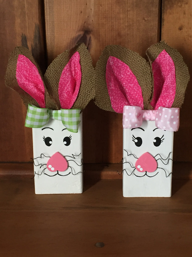 Wooden Block Easter Bunnies