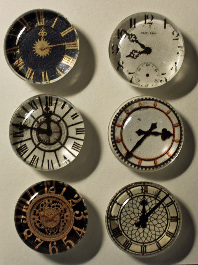 It's Time Clocks Super Strong Glass Gem Magnets