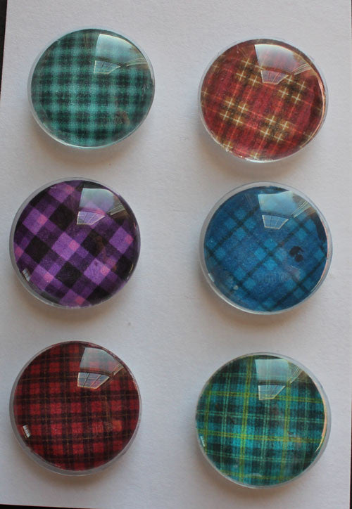 Everyday Plaid Glass Gem Super Strong Magnets